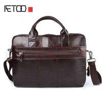 AETOO Genuine Leather Bag Men Bag Cowhide Men Crossbody Bags Men S Travel Shoulder Bags Tote