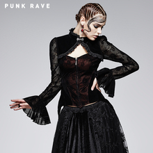 PUNK RAVE Women Halloween Christmas Gothic black and red flocking lace ribbons Wintter jacket coats