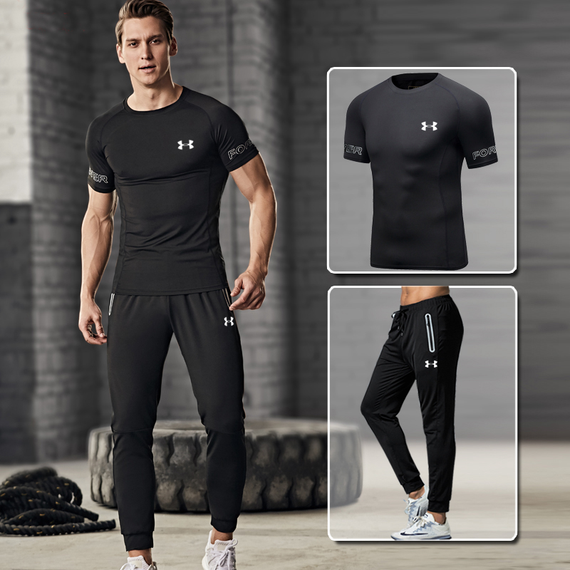 Hot Sale Under Armour Men Training Suits Male gym Sports Sets ropa deportiva hombre Quick drying Fitness Suit 2 pieces M-4XLHot Sale Under Armour Men Training Suits Male gym Sports Sets ropa deportiva hombre Quick drying Fitness Suit 2 pieces M-4XL