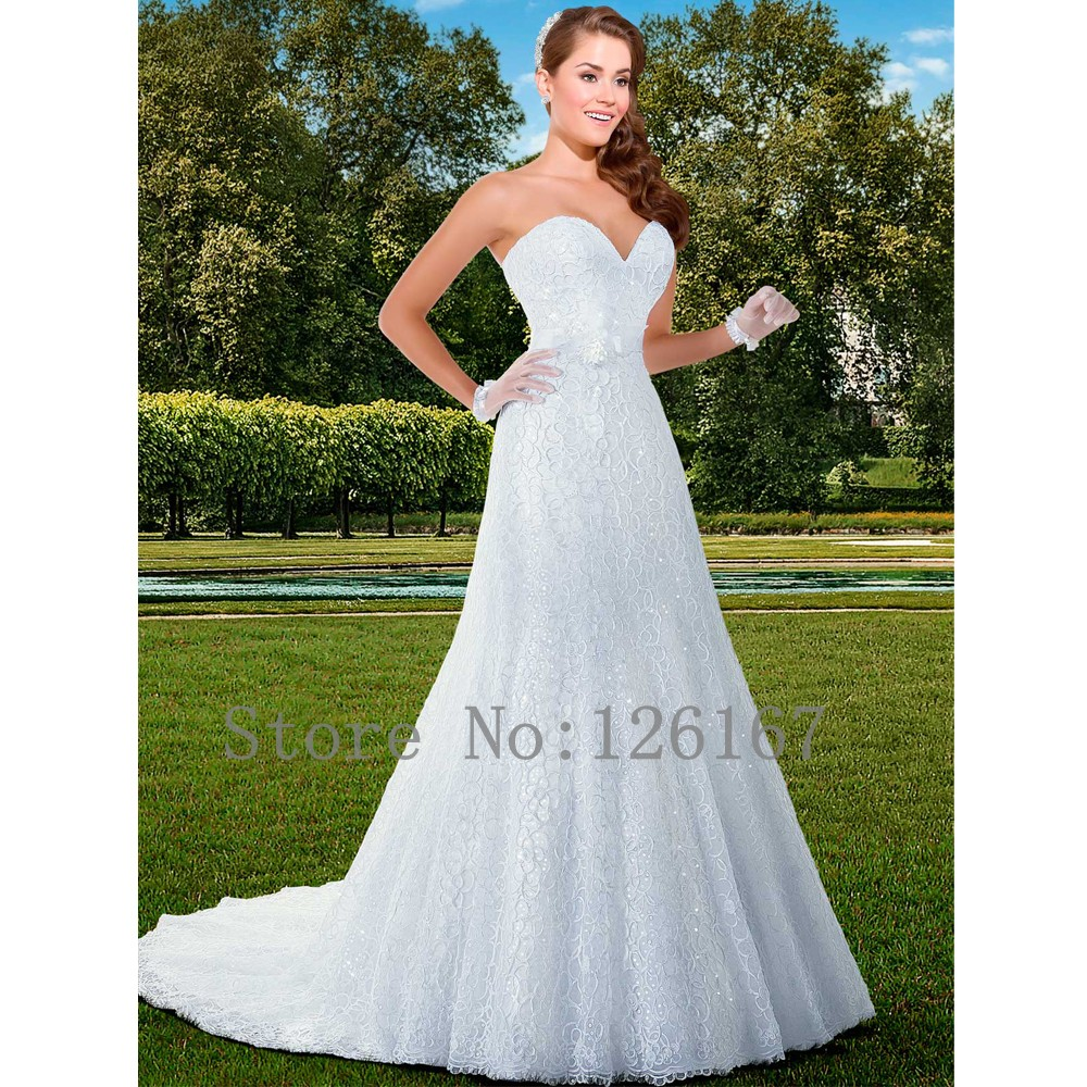 Aliexpress buy a line backless low cut wedding dress lace aliexpress buy a line backless low cut wedding dress lace brush train wedding dresses sleeveless sweetheart neck backless bridal dresses cgw230 from ombrellifo Images