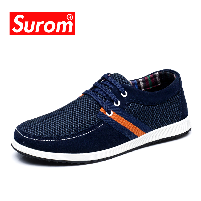 SUROM Mens Shoes Casual Hot Sale Summer Mesh Comfortable Tenis Sneakers Lace up Flat Boat Shoes Men Krasovki Round Toe Loafers
