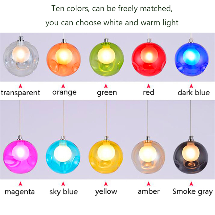Modern Led Color Bubble Ball Pendant Lamps Home Decor Dimming Hanging Lamp Hanglamp Bedroom Living Room Lustres Pendente Lamp