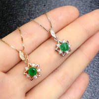 2017 Collier Qi Xuan_Jewelry_Colombia Green Stone Fashion Necklaces_Plated Rose Gold Pendant Necklaces_Factory Directly Sales