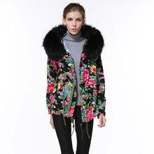 Zipper Chinese style elegant print peony women wind coats raccoon fur collar hooded jacket