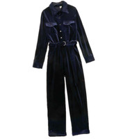 Velvet Bodycon Jumpsuit Romper Winter Autumn Women Jumpsuits Casual Fashion Overalls long sleeves long pant