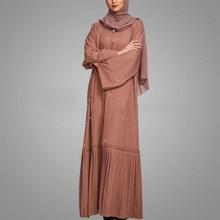 Muslim Dress Dubai Kaftan Abayas for Women Plus Size Pearl Robe Femme Turkish Qatar UAE Islamic Ramadan Arabic Prayer Clothing