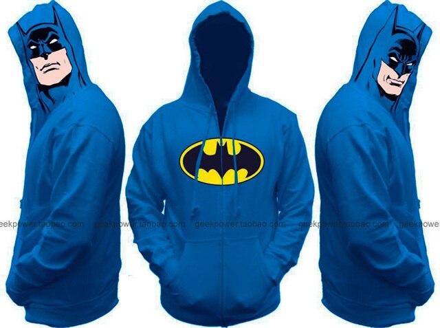 Azul Batman con capucha sudaderas gruesas de invierno cálido marvel DC friki biología tv movie de drama elegante inteligente inteligente nueva sexy cool 2014 nuevo