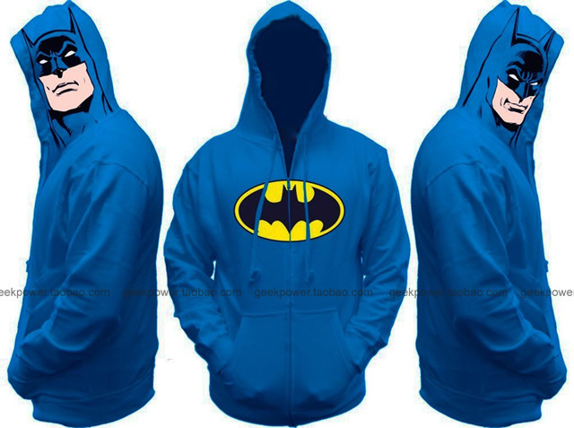 Blue Batman hoodie sweatshirts thick warm winter marvel DC geek biology tv drama movie chic clever smart new sexy cool  2014 new