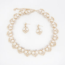 Fashion Fine Jewelry Sets Imitation Pearl Beads Wedding Bridal Costume Necklace Earrings Set For Women