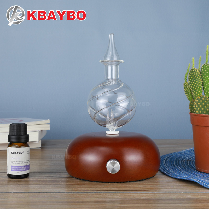 KBAYBO Bois et Verre Aromathérapie Diffuseur d'huile essentielle diffuseur Aroma purificateur d'air mist maker fogger avec 7 couleurs LED lumière