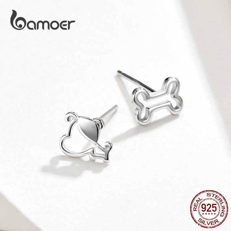 Bamoer cão e osso brincos para menina prata esterlina 925 gato orelha pinos jóias bijoux anti-alergia jóias gxe649