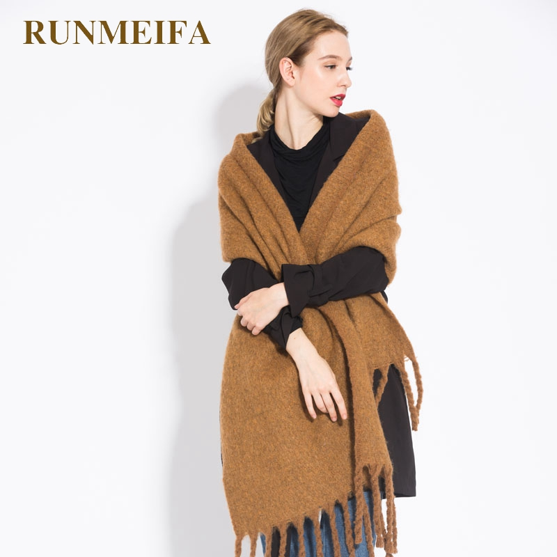 deb57d6753e7f [RUNMEIFA] Women shawl scarf autumn winter generous sjaals The brand new  fashion acrylic pure coffee camel colored tassel shawl-in Scarves from  Women's ...