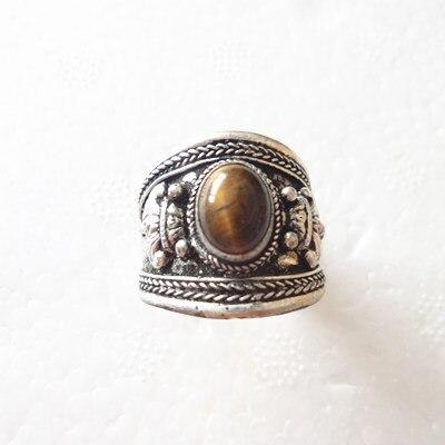 Big Adjustable Tibetan Weaving Dotted Round Tiger Eye Gemstone Dorje Amulet Ring