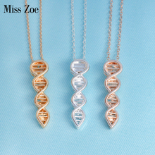 Miss Zoe Fashion DNA Strand Pendant Necklace Minimalist Jewelry Simple Rose Gold Silver Science Chemistry chain For Women Men