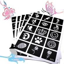 133pcs Airbrush Glitter Tattoo Stencil Women Kids Drawing Template,Small Flower Butterfly Henna Tattoo Stencil