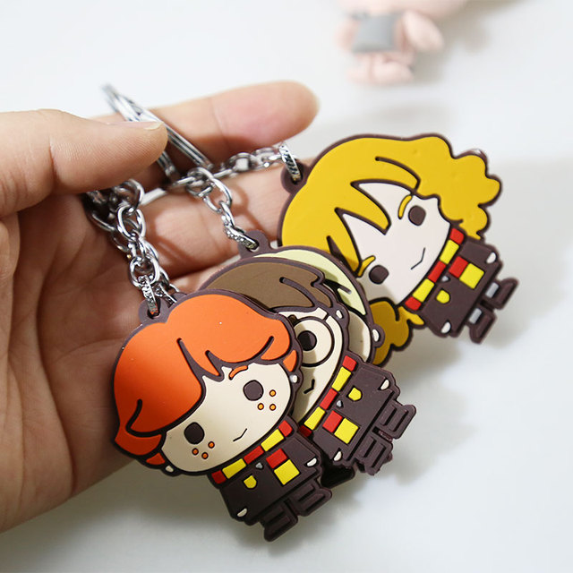 3D Harry Potter PVC Keychain Toy Dobby Hermione Granger Malfoy Ron Weasley Snape Action Figure Toys Party Cosplay PVC Key Ring 5