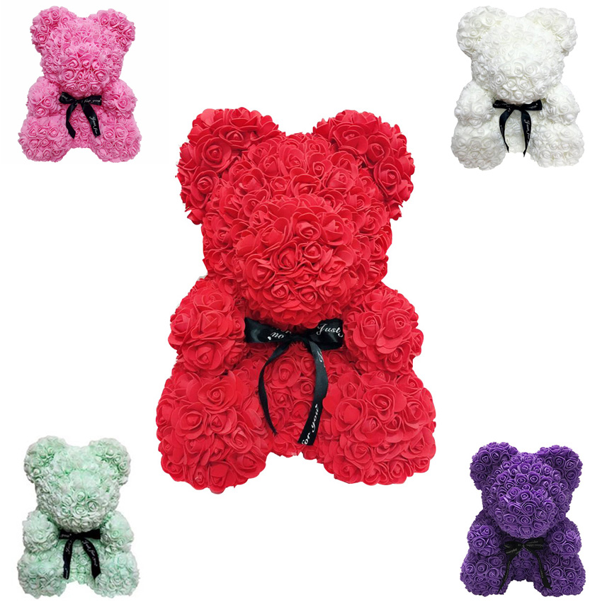 2019 Hot Sale 40cm Soap Foam Bear of Roses Teddy Bear Rose Flower Artificial New Year