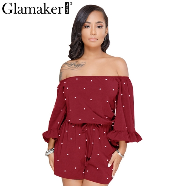 Glamaker Sexy off shoulder pearl romper Women winter ruffle onepiece combishort femme playsuit Holiday loose jumpsuits&rompers