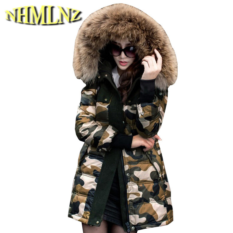 Latest Winter Fashion Women Cotton jacket Heavy hair collar Thick Hooded Warm Coat Printed Elegant Slim Big yards Coat G2095 подстветка для зеркал 87222 palmera eglo 962894