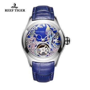 Rafa Tiger Top marka luksusowe zegarki damskie niebieska skóra pasek analogowe zegarki mechaniczne stalowe zegarki sportowe RGA7105 tanie i dobre opinie 5Bar Skóra wdrażania wiadro STAINLESS STEEL Moda casual Automatyczne self-wiatr ROUND 19mm Odporny na wstrząsy Odporne na wodę