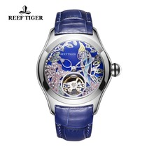 Reef Tiger Top Brand Luxury Women Watches Blue Leather Strap