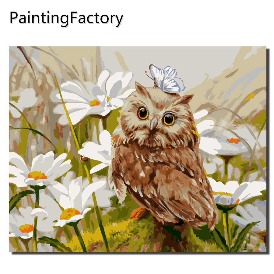 Frameless DIY Owl Oil Painting Pictures By Numbers On Canvas Wall Art For Living Room Home Decoration Flowers Color numbers