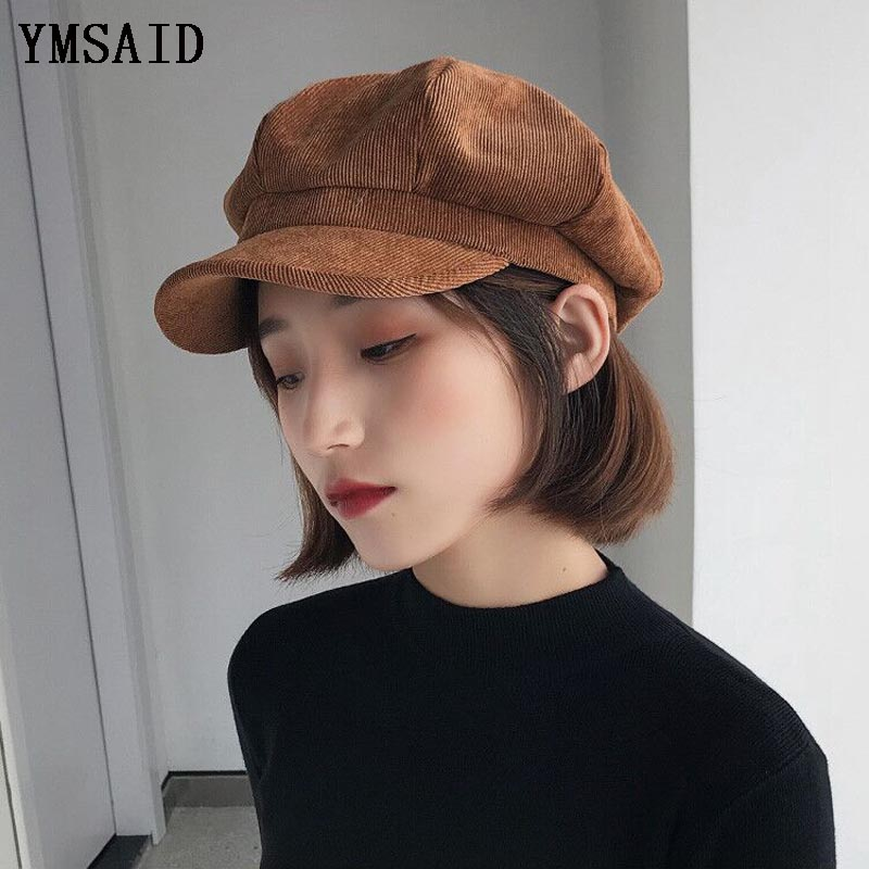 Unisex Octagonal Hat Women Winter Corduroy Fabric Gorras Planas Men's Newsboy Cap Female Solid Color Hats For Men Berets