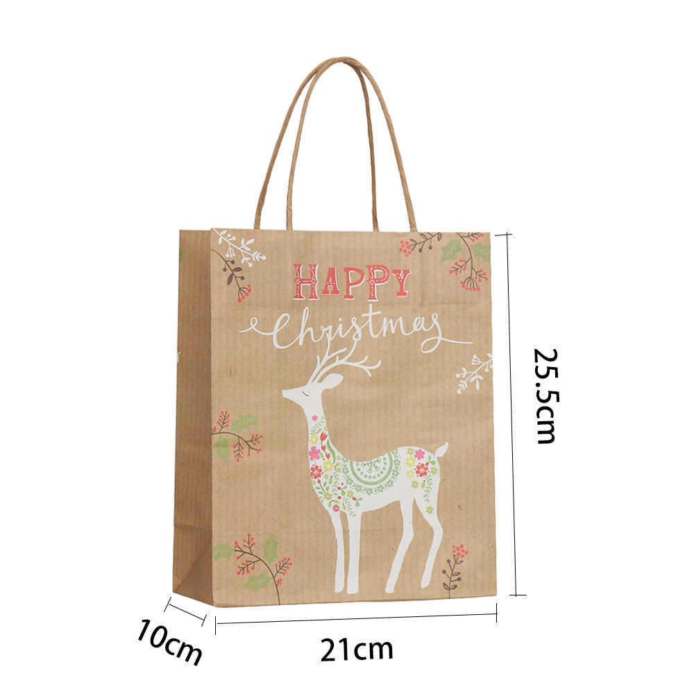 9157712387ae 1PC Shopping Bag Kraft Paper Bags with Handle Santa Claus Elk Candy  Chocolate Cookies Shopping Bag Christmas Package Gift