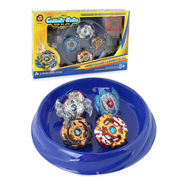 4 In 1 Beyblades Burst with Two way Launchers and Blue Battle Plate for Children Desktop Game Gyro Toys Set for Chidlren