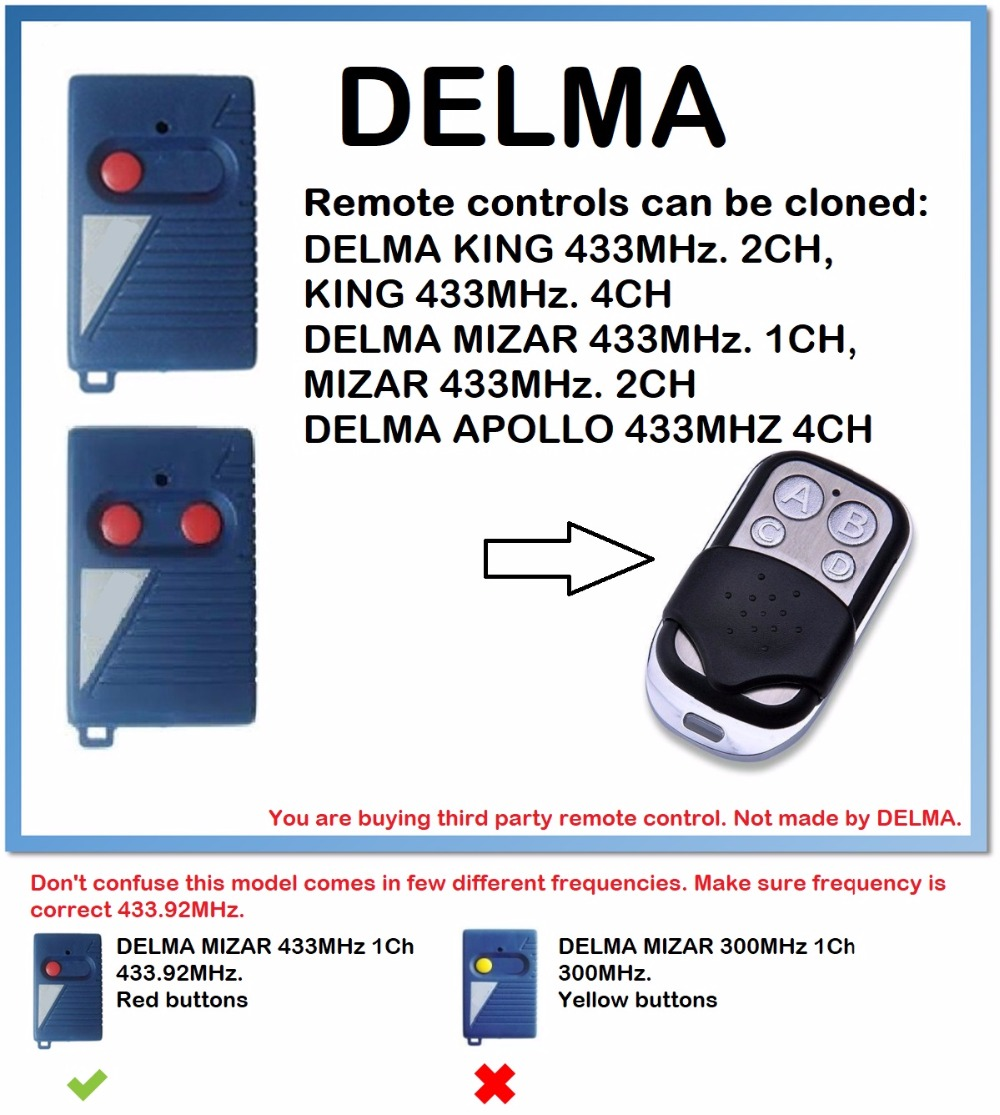 DELMA APOLLO 433MHz. 4CH Remote Control Duplicator 4-Channel 433.92MHz.(only For 433.92mhz Fixed Code)