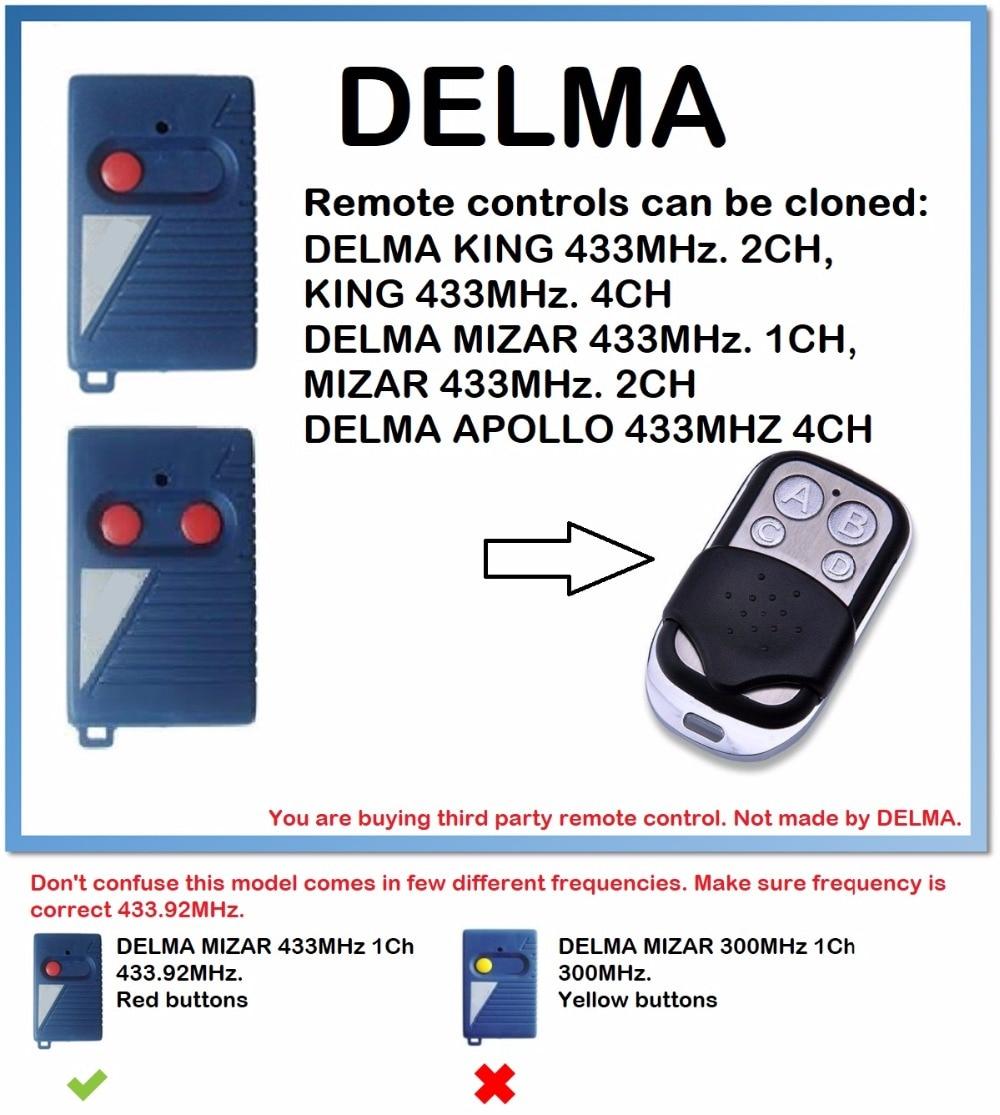 DELMA APOLLO 433MHz. 4CH Remote Control Duplicator 4-Channel 433.92MHz.(only For 433.92mhz Fixed Code)