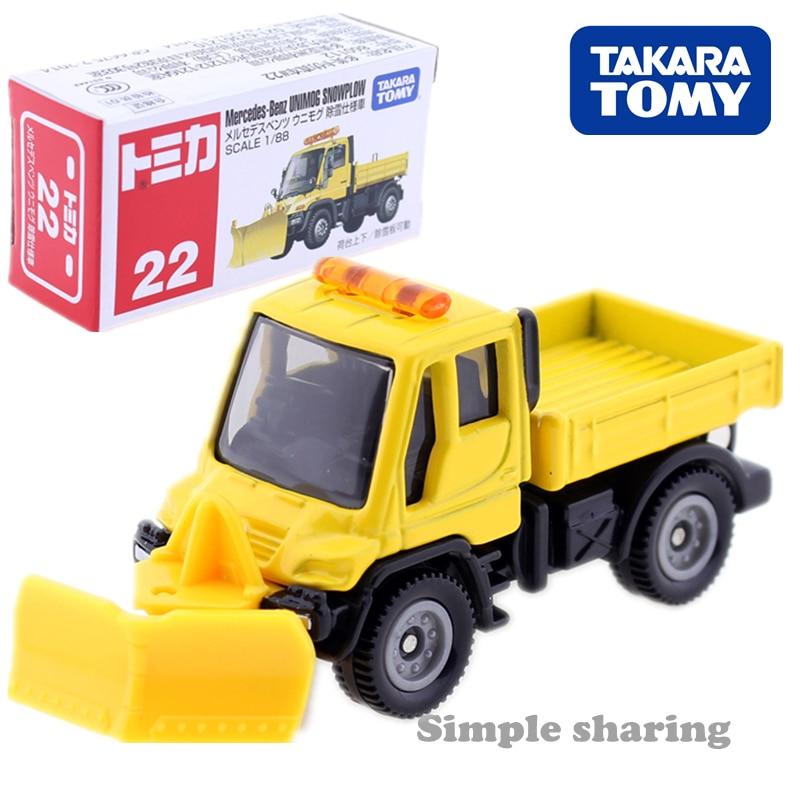 Takara Tomy Tomica MERCEDES BENZ UNIMOG SNOWPLOW Car Toy 1:88 No. 22 Diecast Miniature Baby Toys Model Kit Funny Magic Kids Doll