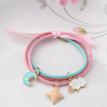 1pack=3pcs Colorful Ribbon Babys Gum for Hair Moon Star Shape Cute Rubber Bands Rope Girls Ponytail Elastic
