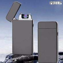 PREUP cobran Doble Arco personalidad a prueba de viento Más Ligero USB Cigarrillo Eléctrico Más Ligero de Metal de La Novedad Sin Llama de La Antorcha Recargable