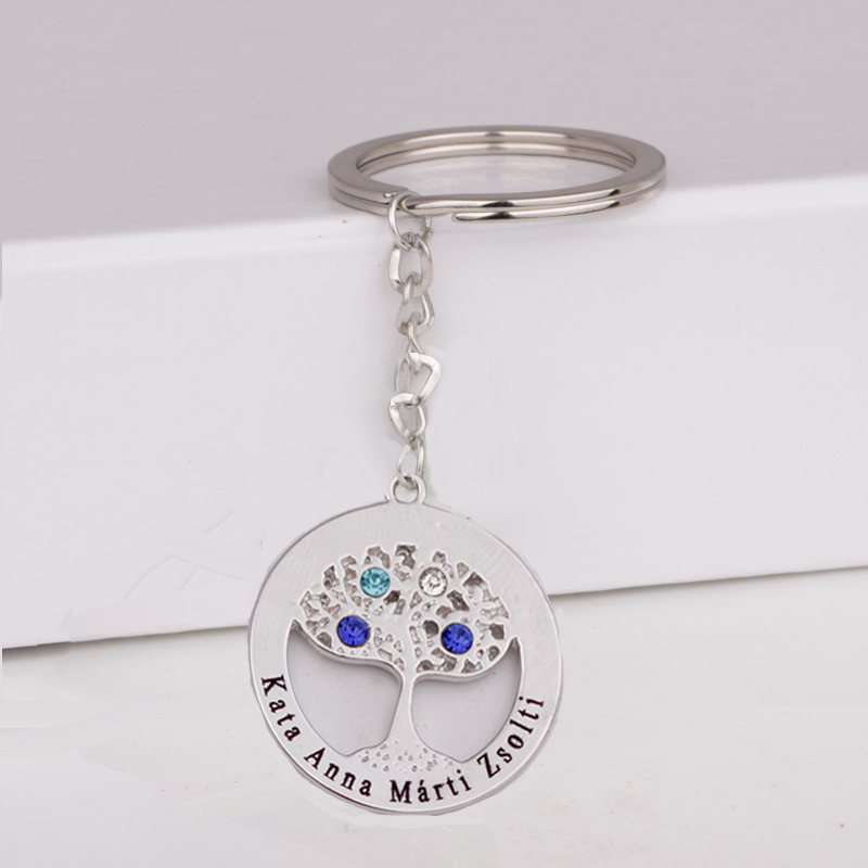 2018 New Silver Family Tree Key Chain Custom Any Names & Birthstones Gift for Family YP3057