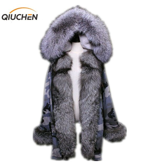 QIUCHEN PJ6003 new long Camouflage gray winter jacket women outwear thick parkas natural real fox fur collar coat hooded pelicc