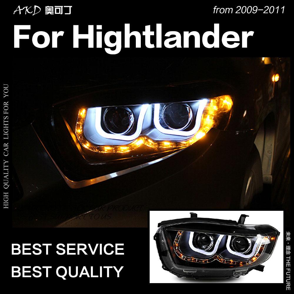 AKD Car Styling for Toyota Highlander Headlights 2009 2011 Kluger LED Headlight DRL Hid Head Lamp