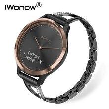 Stainless Steel + Diamond Watchband for Garmin Vivomove HR / 3 / 3S / Vivoactive 4/ 4S/ Venu/ Luxe/ Style Watch Band Women Strap