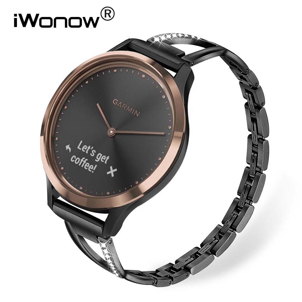 Stainless Steel + Diamond Watchband for Garmin Vivomove / Vivomove HR Sport Premium Watch Band Women Strap Wrist Belt Bracelet-in Watchbands from Watches
