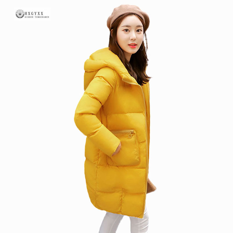 2017 New Winter Down Cotton Coat Women Big Size Loose Outerwear Female Thick Warm Parkas Coat Solid Hooded Winter Jackets OK898 women winter down cotton jacket coat long parkas 2017 thick warm flocking cotton outerwear plus size female loose jackets okxgnz