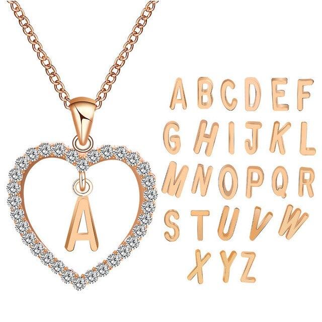 a7ee25541101 2019 amor romántico rosa de oro Zircon collares mujeres chica corazón carta  A-Z colgante gargantilla collar