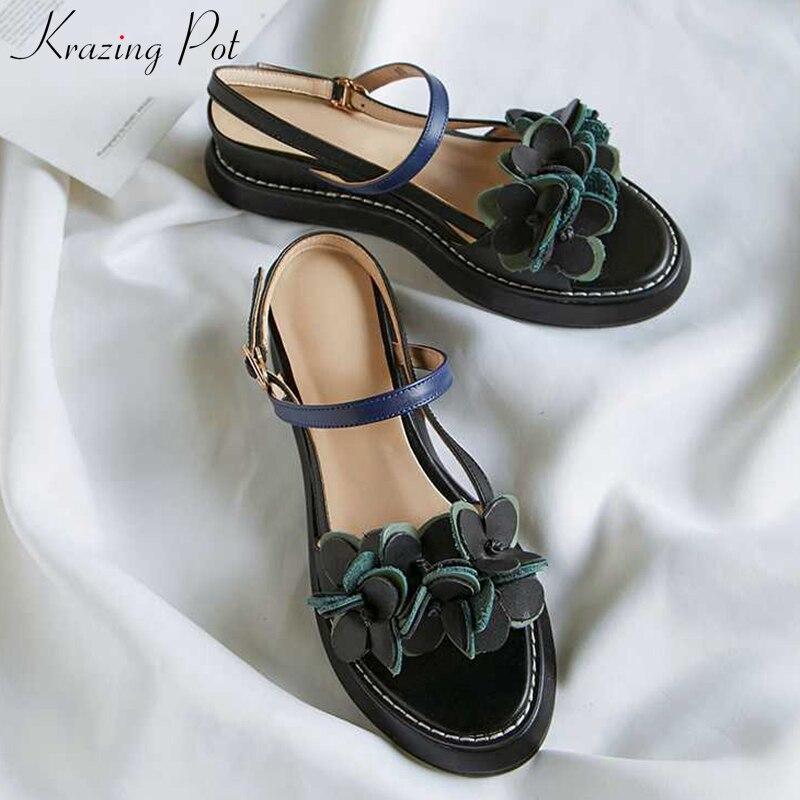 Krazing Pot Genuine Leather Movie Star Streetwear Wedges High Heels Flowers Appliques Peep Toe Art Design Leisure Sandals L90