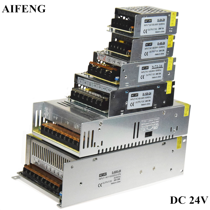 AIFENG Switching Power Supply Adapter 24W 48W 72W 120W 360W 600W For Led Strip Lights AC 110V 220V To DC 24V Driver Power Supply aifeng dc 24v switching power supply 1a 2a 3a 5a 15a 25a power supply switching power ac 110v 220v to dc 24v for led strip light
