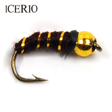 ICERIO 10PCS Plastic Golden Bead Head Nymph / Midge Small Bugs for Trout Bream Blue Gill Fly Fishing Size #14(China)