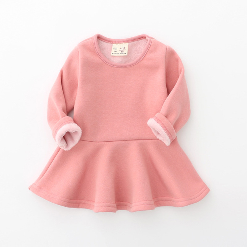 New 2019 Baby <font><b>Girls</b></font> <font><b>Dress</b></font> Candy Color Long Sleeve Toddler <font><b>Girls</b></font> Clothing Winter Fleece Warm Children <font><b>Princess</b></font> <font><b>Dress</b></font> DQ699 image