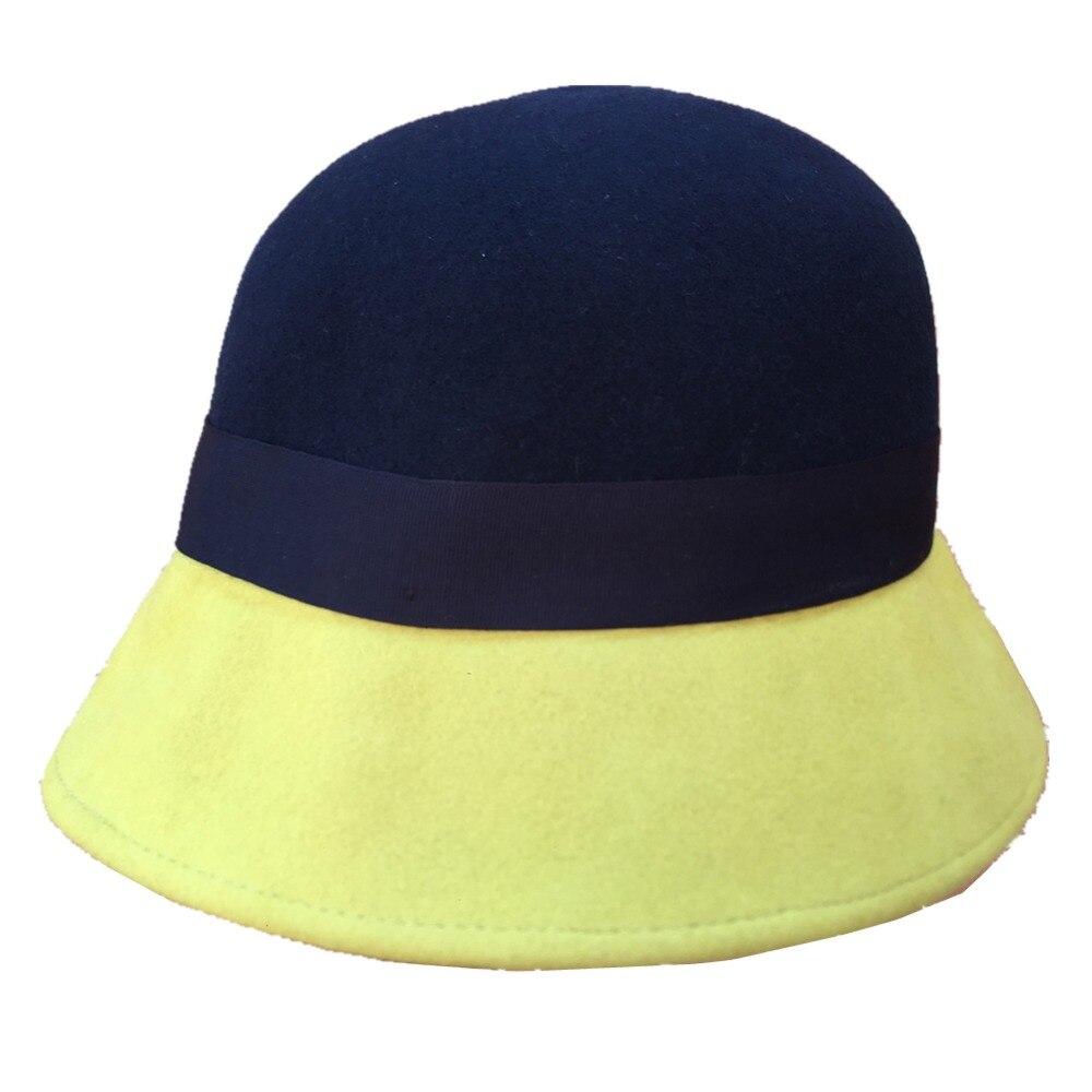 Wool felt Yellow Pink Patch cloche Bucket hat for women ...