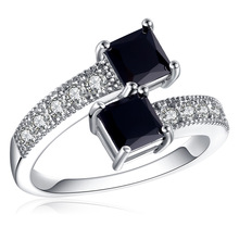 Silikolove 1pcs Black Double Zircon Ring Fashion Ring Vintage Ring Female Valentine's Day Birthday Present Gioielli кольцо fashion ring 3colors double fingers ring