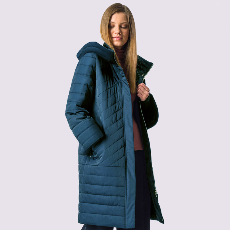 2019 New Spring Autum Women's   Parka   Windproof Thin Women Coat Long Plus Size Quilting Cotton Standing Collar Jackets Outwear