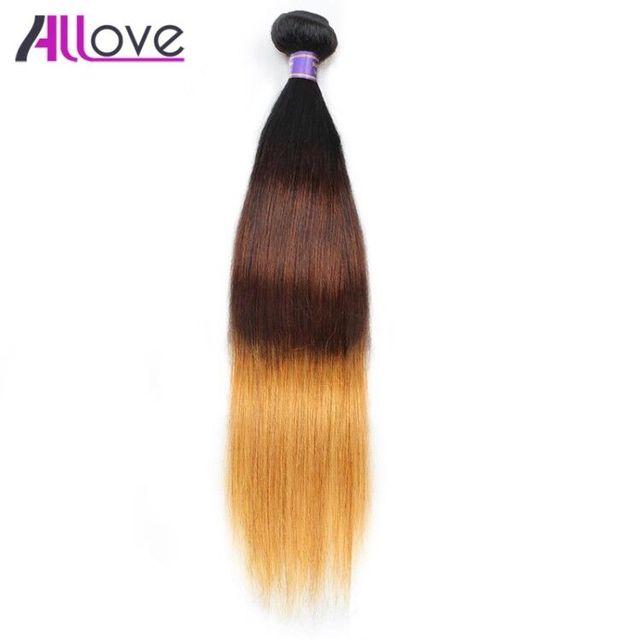 Allove человеческие волосы прямые индийские волосы переплетения 1 шт. только в том случае, 10-28 дюймов эффектом деграде (переход от темного к 3 оттенка, переходящие плавно от темного к светлому) T1B/4/30 Бесплатная доставка 100% Волосы remy