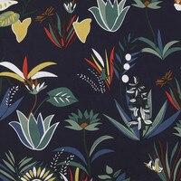 BZ65 100 140cm Dark Blue Florals Printing Cotton Fabric Handmade DIY Fabric For Sewing Women Dress